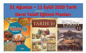 31 Ağustos – 18 Eylül 2020 Tarih Dersi Telafi Eğitimi Yıllık Planları